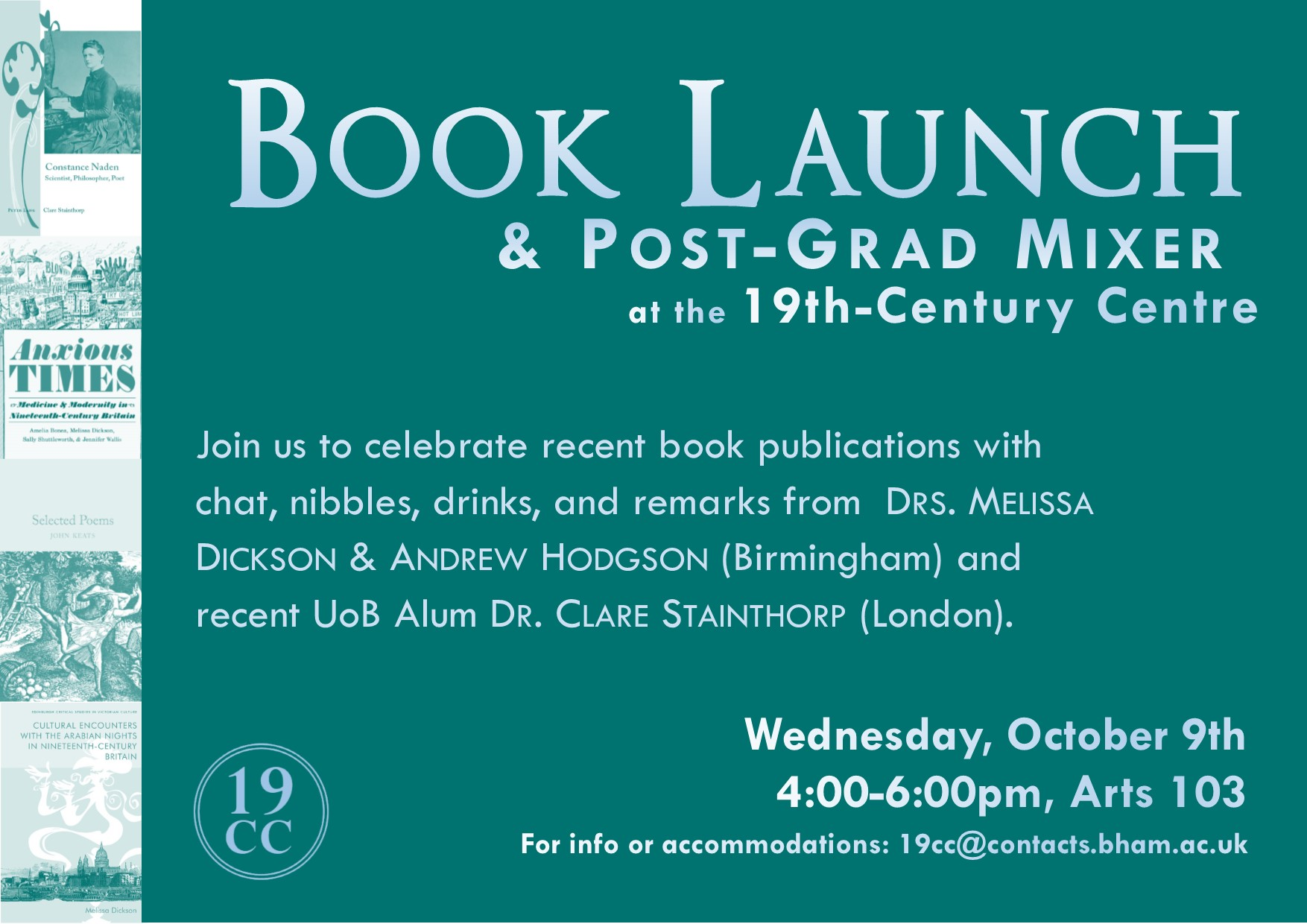 9 October: Book Launch and 19C Post-Grad Mixer