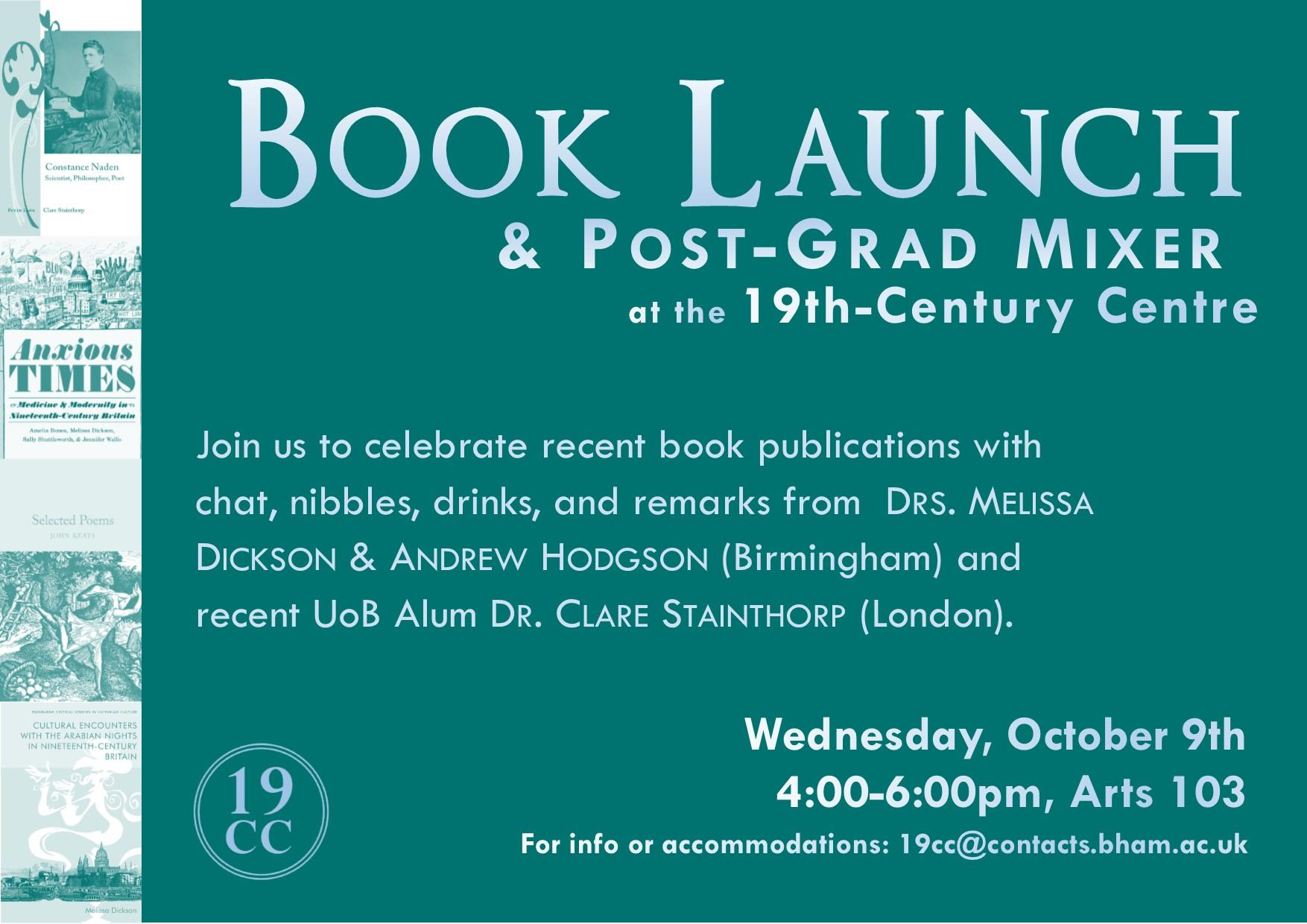 9 October: Book Launch and 19C Post-Grad Mixer