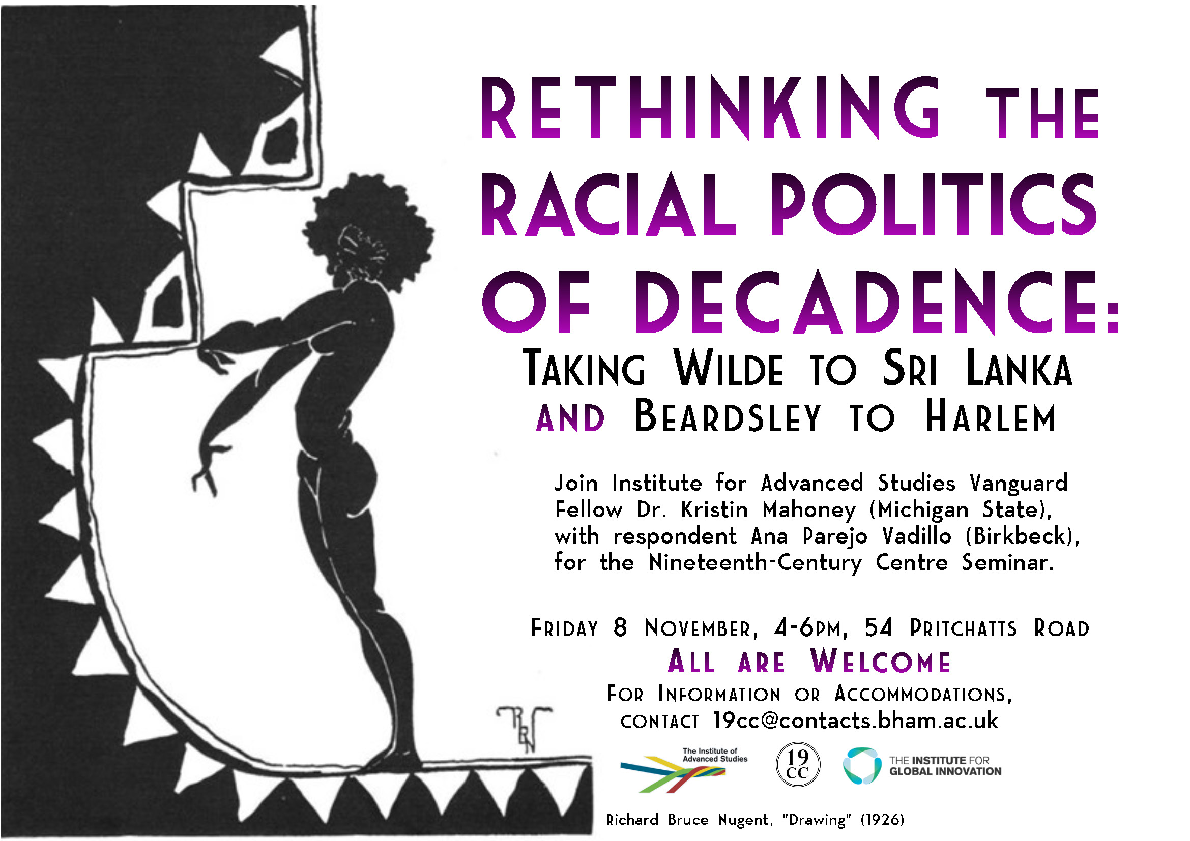 "8 November: Dr. Kristin Mahoney, ""Rethinking the Racial Politics of Decadence"""