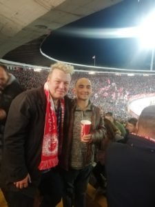 Alex and Dragolub at the Red Star versus Spurs match.