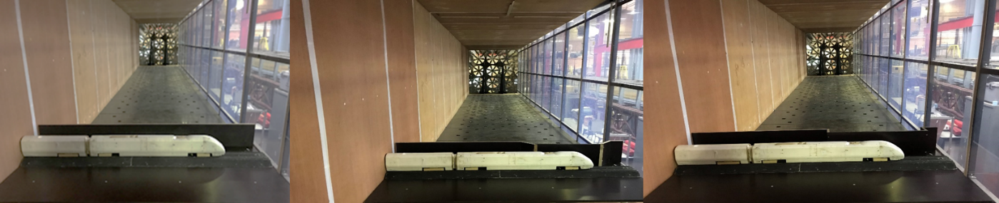 Images of the experimental set-up of the model inside the wind tunnel at yaw angle of 90°