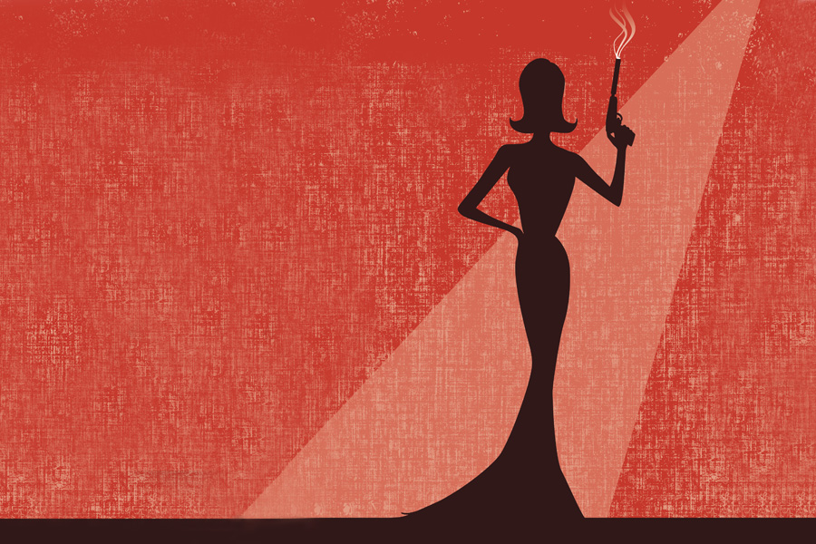 Silhouette f a women holding a gun