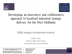 City-REDI/PA Consulting ESRC-IAA workshop on developing an innovative and collaborative approach to localised industrial strategy delivery for the West Midlands