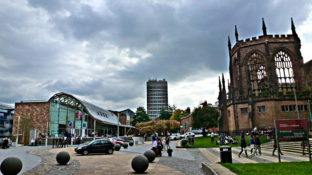 A picture of Coventry's old cathedral ruins and The Herbert Art Gallery and Museum