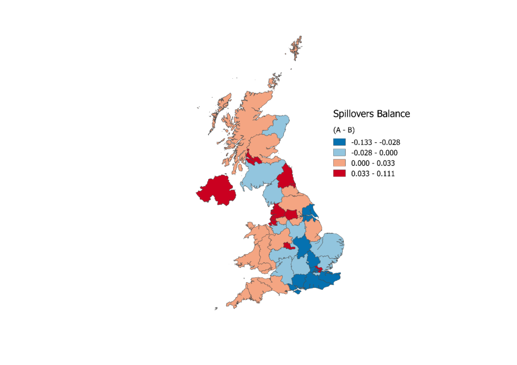 The map shows the balance of spillovers generated and received by each UK NUTS 2 region.