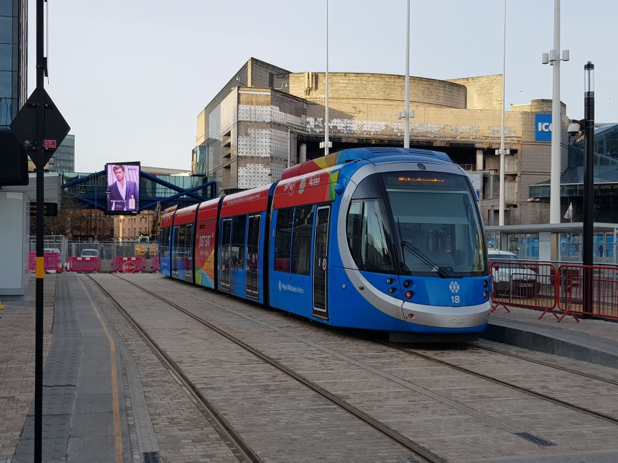 A tram from the West Midlands Metro