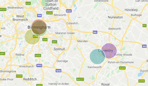 A map illustrating where Universities are located in Birmingham and Coventry and a 3 km area around them. Within these areas student housing demand affects rental markets dramatically.