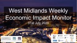 West Midlands Weekly Economic Impact Monitor – 31st July 2020
