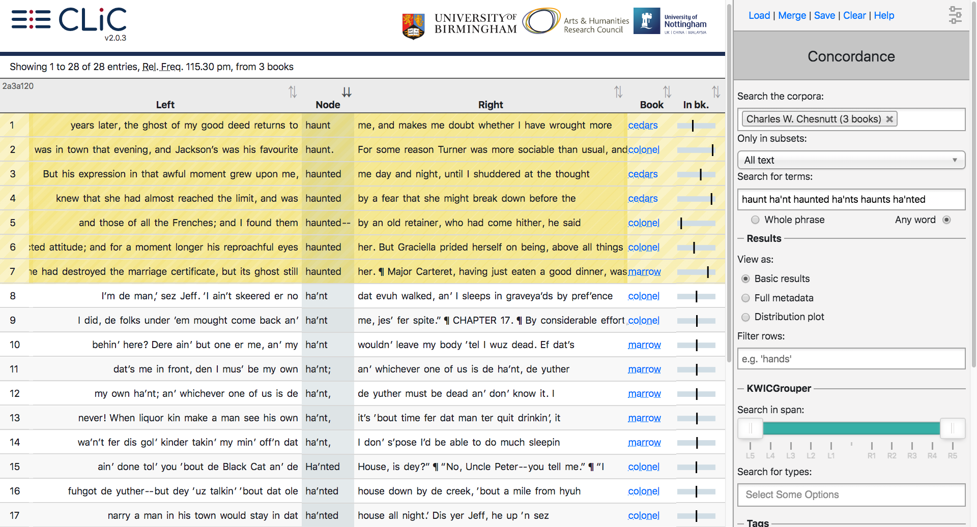 Screenshot for the first seventeen results for haunt/ed (highlighted yellow) and ha'nt/ed in Chesnutt's novels.