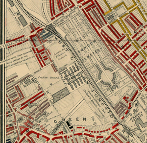 """Detail showing Lillie Bridge from Charles Booth's 1889 descriptive map of London poverty. Houses marked in red were """"Middle-class. Well to do."""" Those in gold were """"Upper-middle and Upper classes. Wealthy."""" These were the highest two of Booth's seven classifications."""