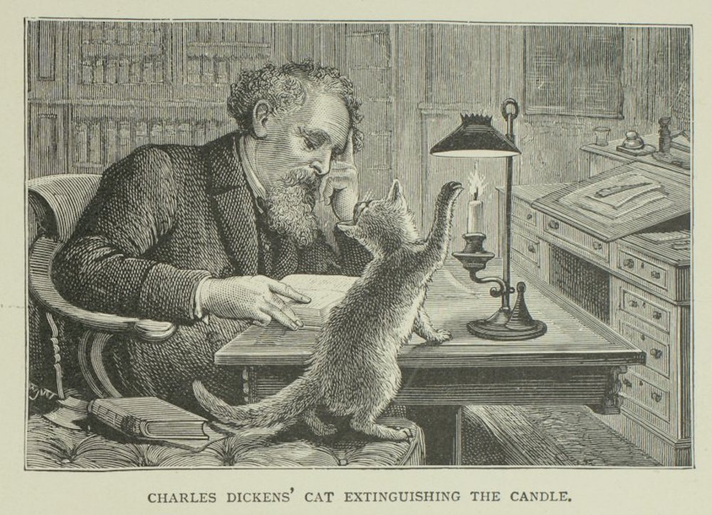An illustration of Charles Dickens sitting at his desk, with his cat extinguishing the candle.