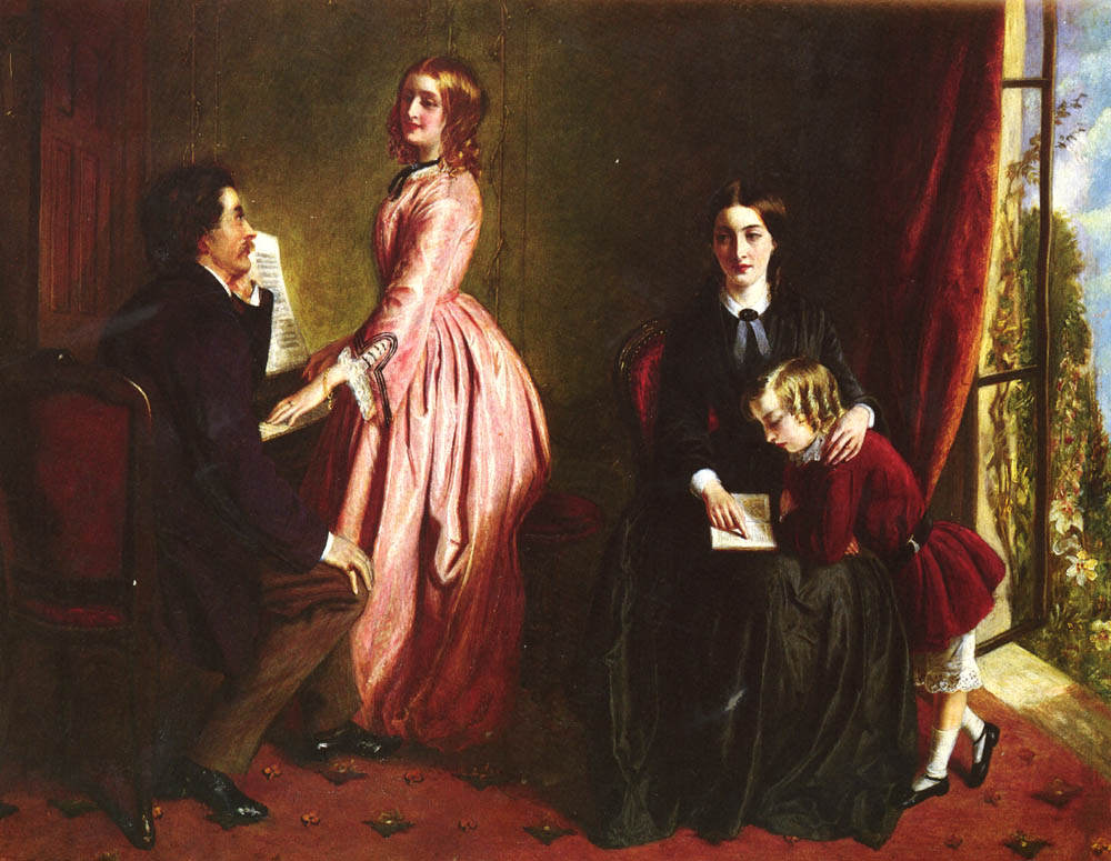 A painting showing a man and an elegantly dressed young lady on the left, and on the right a simply dressed young woman, who is the governess, supervising a child while reading