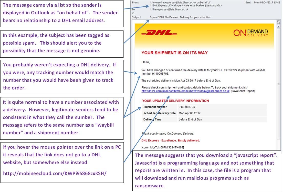 Dhl Fake Email