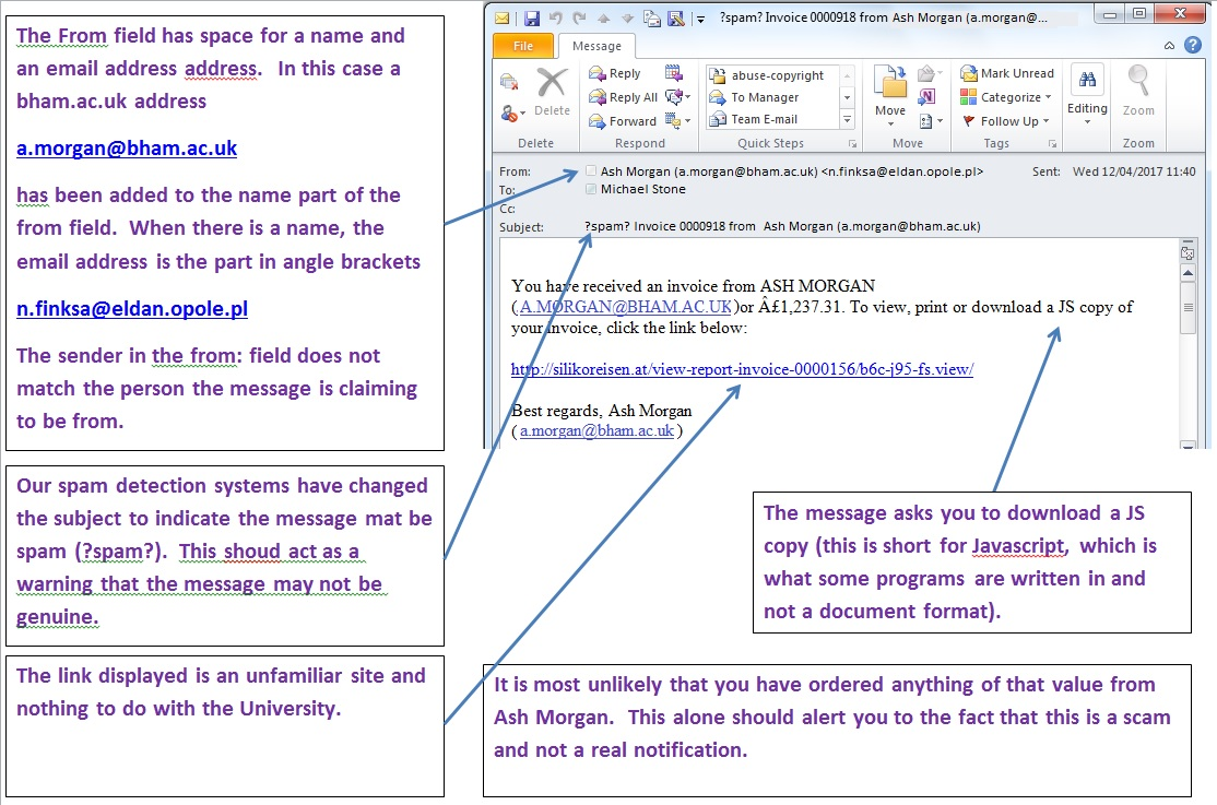 bogus invoices from the university it security