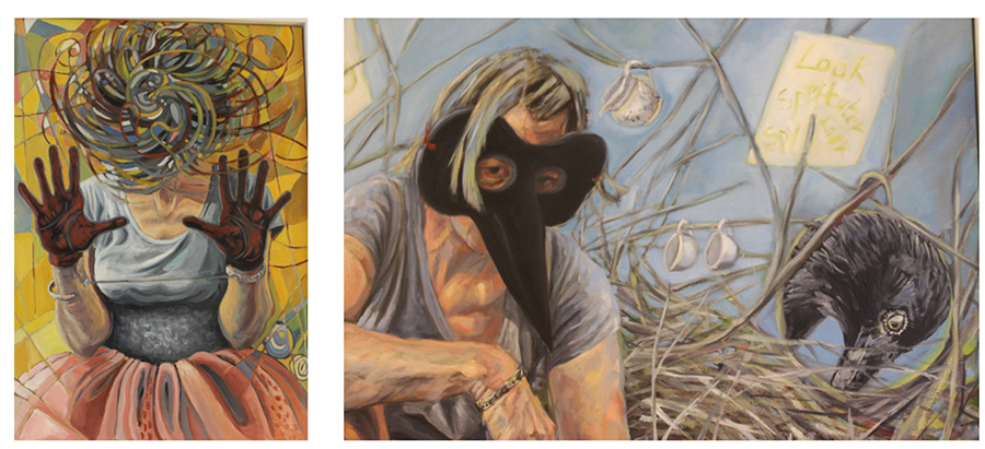 Gabrielle Roberts-Dalton, Fuzzy Head/Particle Accelerator (on left) and The Observer (in detail, on right), 2018
