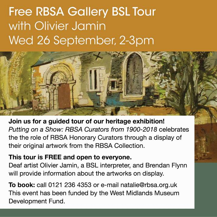 Free RBSA Gallery BSL Tour, Wednesday 26th September 2018, 2-3 pm.