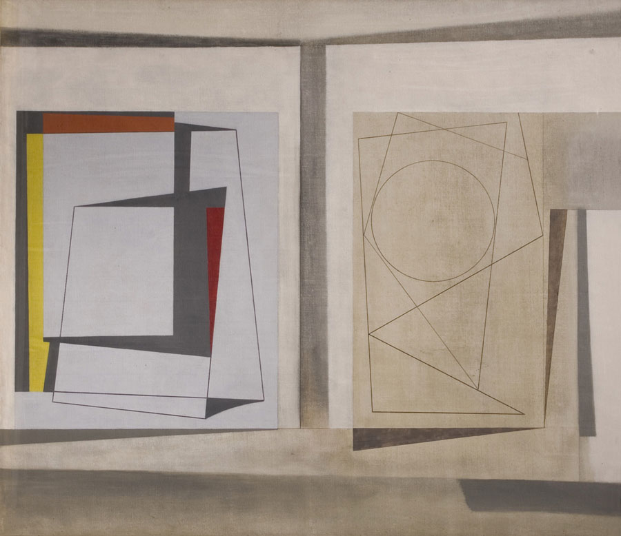 Abstract artwork two halves, largely in grey tones with the two sides separated by a grey line. The left half is formed rectangular shapes with are outline in red, orange, yellow, and grey. The right side is monochrome with thin lines creating overlapping shapes such as circles and triangles which bisect each other.