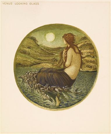 """A page from an illustrative book by Edward Burne-Jones. The page is cream and has """"Venus' Looking Glass"""" written in print in the top left corner. In the centre of the page is a tondo painting of a mermaid sitting on the top of the see and looking towards land. The sun is full in the horizon. The painting has two halves: the blue toned sea at the bottom and green and brown land at the top."""