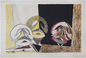A Max Ernst lithograph depicting three masks on stands.