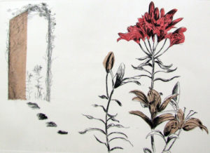Three flowers are at the foreground of the work. To the left a few footsteps lead to an open door with more flowers outside.