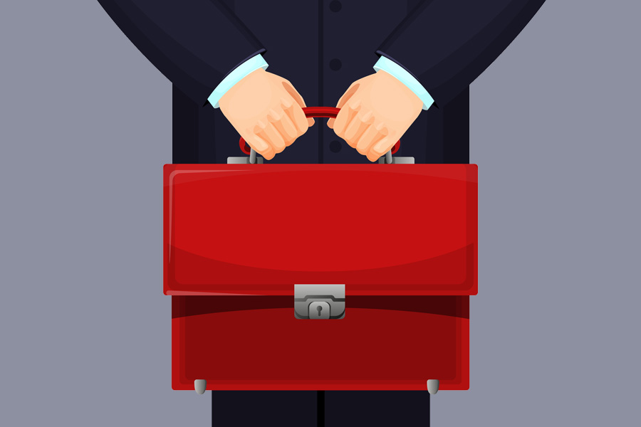 An animated figure holding a red briefcase