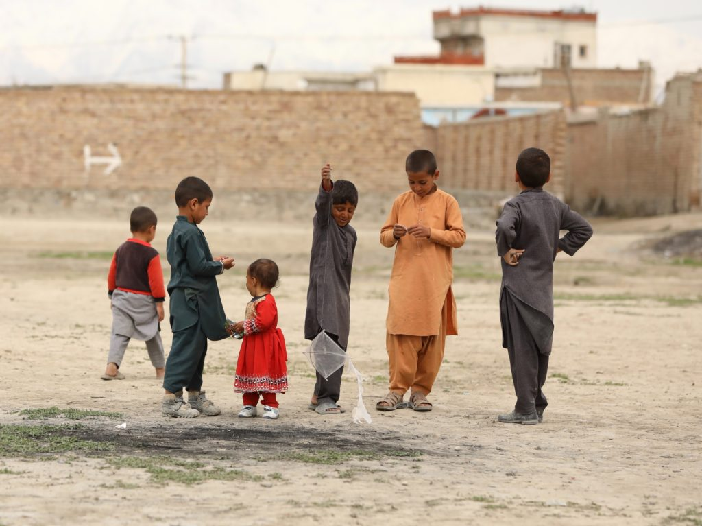 Children outside in Kabul, Afghanistan