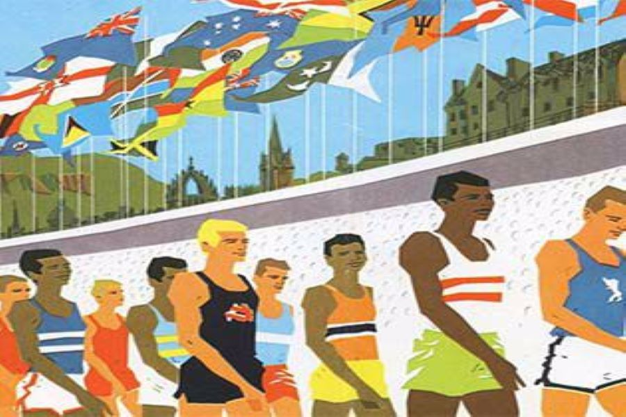 Animated image of male athletes from across the Commonwealth under flags of different countries.
