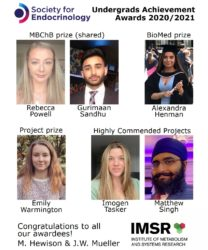 Celebrating Student Excellence – the Society for Endocrinology Undergraduate Achievement Awards