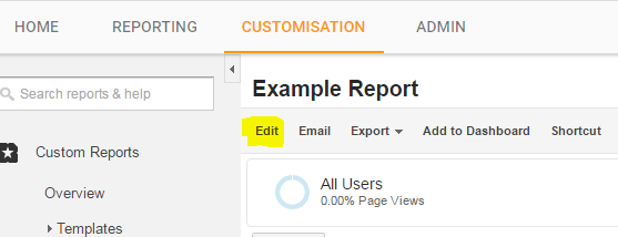 Google analytics - edit a custom report